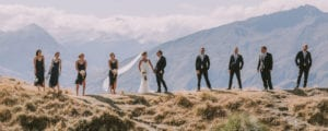 Wedding photos with wedding party on the hills