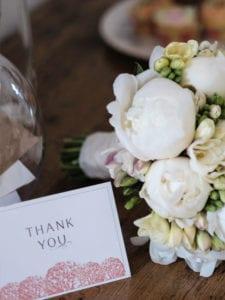Wedding reception bouquet & thankyou card