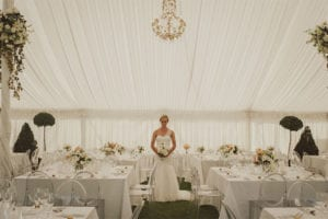 Beautiful bride in marquee