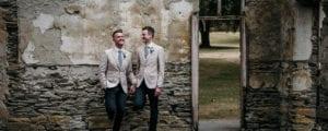Civil union couple holding hands
